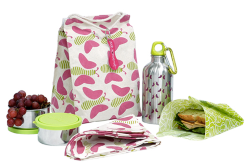 Butterfiles decorate reusable lunch kit.